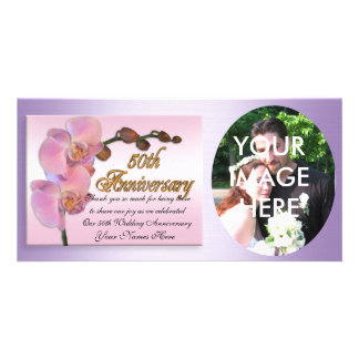 50th anniversary photo Thank you Pink Orchids Photo Card Template