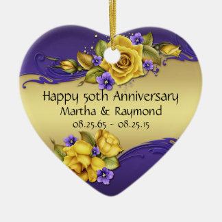 50th Anniversary Photo Yellow Roses Purple Pansies Ceramic Heart Ornament