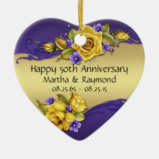 50th Anniversary Photo Yellow Roses Purple Pansies Ceramic Ornament