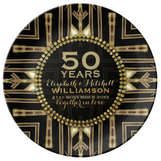 50th Anniversary Plate | Black+ Gold Art Deco