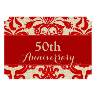 "50th Anniversary Red and Taupe Damask Business 5"" X 7"" Invitation Card"