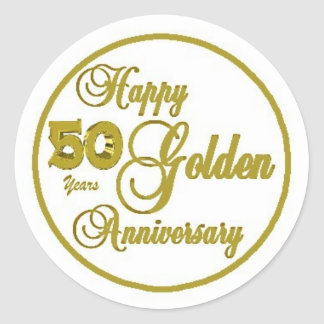 50th Anniversary Sheet of 20 Gold Round Stickers
