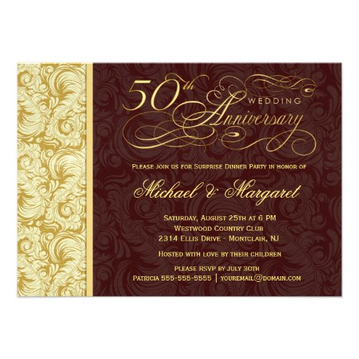 50th Anniversary Surprise Party - Gold Damask Personalized Announcement