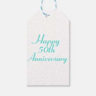 50th Anniversary Turquoise Text Gift Tags Template