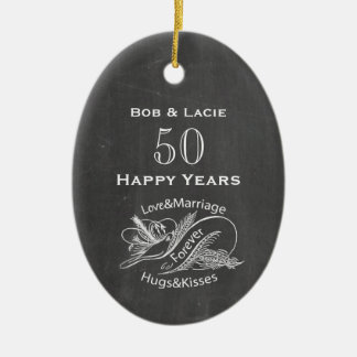 50th Anniversary Vintage Chalkboard Personalized Ceramic Oval Ornament