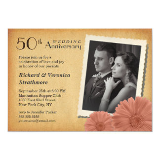50th Anniversary Vintage Daisy Photo Invitations