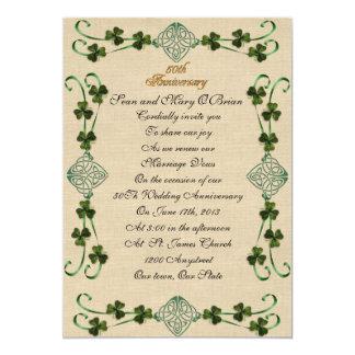 "50th Anniversary vow renewal Irish Unity knot 5"" X 7"" Invitation Card"