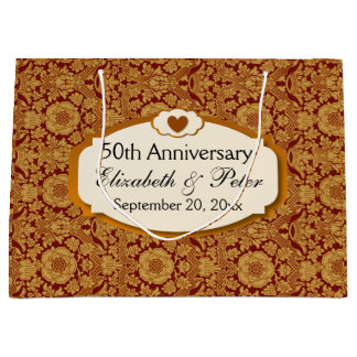 50th Anniversary Wedding Anniversary Gold Damask Large Gift Bag