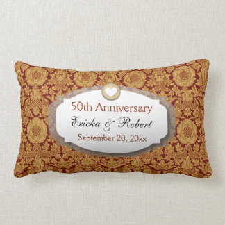 50th Anniversary Wedding Anniversary Gold Z14 Lumbar Pillow