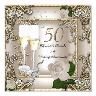 "50th Anniversary Wedding  Cream Gold Rose Silver 5.25"" Square Invitation Card"
