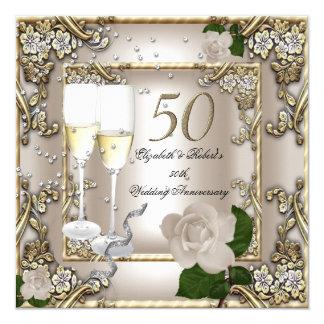 """50th Anniversary Wedding  Cream Gold Rose Silver 5.25"""" Square Invitation Card"""