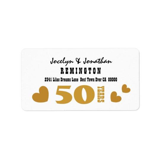 50th Anniversary Wedding Gold Black 4 Label