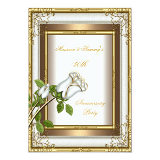 "50th Anniversary Wedding White Rose Gold Elegant 2 5"" X 7"" Invitation Card"