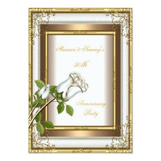 50th Anniversary Wedding White Rose Gold Elegant 2 Card
