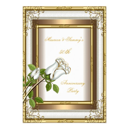 50th Anniversary Wedding White Rose Gold Elegant 2 Custom Invites