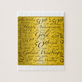 50th Anniversary Word Art Graphic Jigsaw Puzzle
