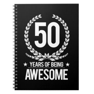 50th Birthday (50 Years Of Being Awesome) Spiral Note Books