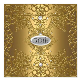 50th Birthday  Anniversary Gold PartyJewel Card