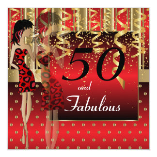 "50th Birthday Bash Girl Party | Red & Gold 5.25"" Square Invitation Card"