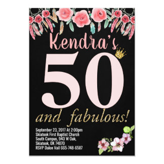 50th Birthday Birthday Party Invitations floral