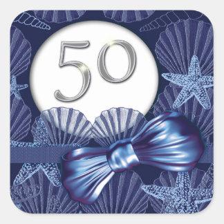 50th birthday blue beach party square sticker