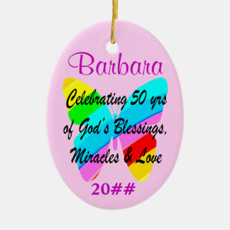 50TH BIRTHDAY BUTTERFLY PERSONALIZED ORNAMENT