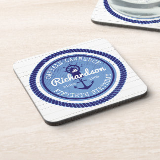 50th Birthday Captain Nautical Rope Anchor Helm Beverage Coaster