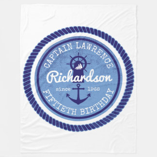 50th Birthday Captain Nautical Rope Anchor Helm Fleece Blanket