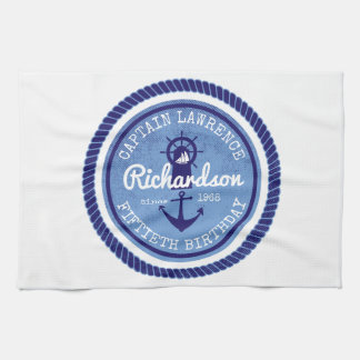 50th Birthday Captain Nautical Rope Anchor Helm Kitchen Towel