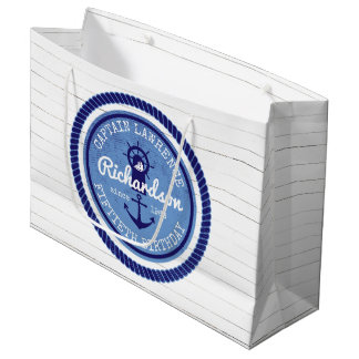 50th Birthday Captain Nautical Rope Anchor Helm Large Gift Bag