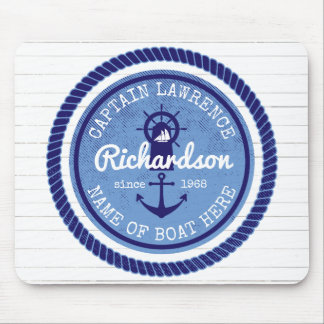 50th Birthday Captain Nautical Rope Anchor Helm Mouse Pad