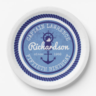 50th Birthday Captain Nautical Rope Anchor Helm Paper Plate