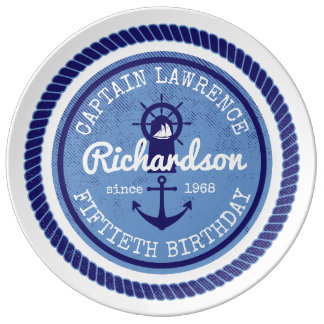 50th Birthday Captain Nautical Rope Anchor Helm Plate