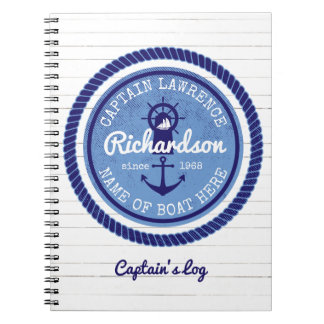50th Birthday Captain Nautical Rope Anchor Helm Spiral Note Book