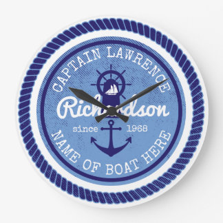 50th Birthday Captain Nautical Rope Anchor Helm Wall Clocks