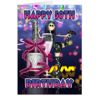 50th Birthday Card - Champagne Rag Doll