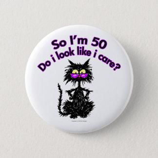 50th Birthday Cat 2 Inch Round Button