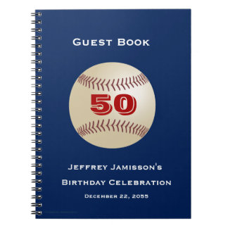 50th Birthday Celebration Guest Book Baseball Note Books
