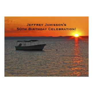 50th Birthday Celebration Invitation Fishing Boat