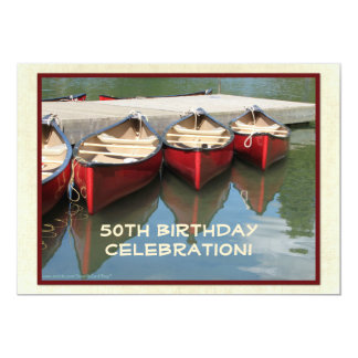50th Birthday Celebration Invitation, Red Canoes Card