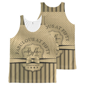 50th Birthday Champagne Gold Polka Dot Stripes Bow All-Over-Print Tank Top