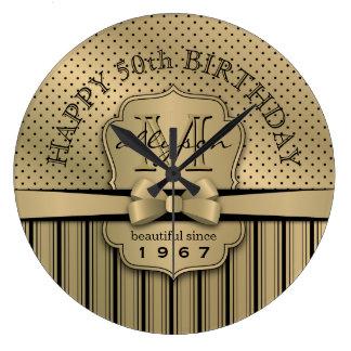 50th Birthday Champagne Gold Polka Dot Stripes Bow Large Clock