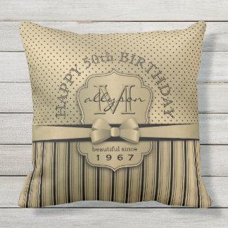 50th Birthday Champagne Gold Polka Dot Stripes Bow Throw Pillow