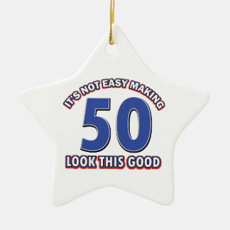 50th birthday designs ceramic ornament
