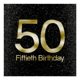 50th Birthday, Elegant Black Gold Glam Perfect Poster