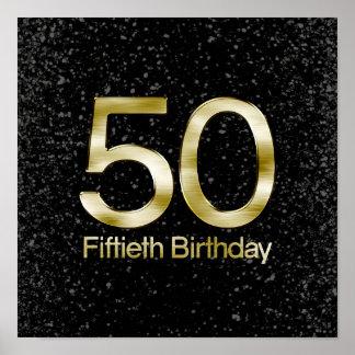 50th Birthday Elegant Black Gold Glam Print