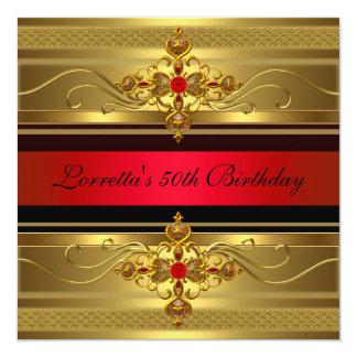 50th Birthday Elegant Gold Red Diamond Jewel Card