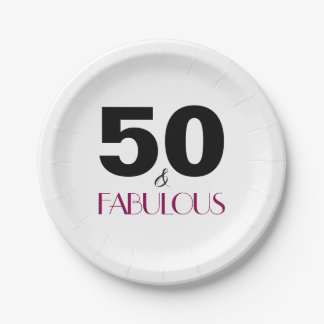 50th Birthday Elegant Party Paper Plates