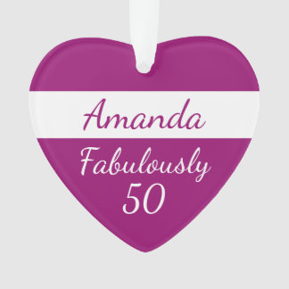 50th Birthday Fabulously 50 pink Ornament