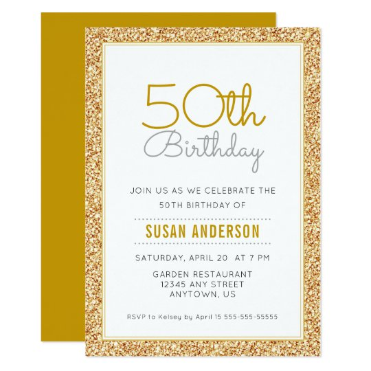 50th Birthday Faux Gold Glitter Card
